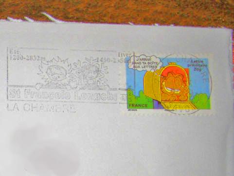 ガーフィールド切手と消印